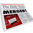 Merger Newspaper Headline Big Breaking News Story Update Company — Stock Photo #43578659