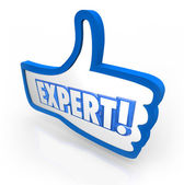 Expert Word Thumbs Up Symbol — Stock Photo
