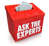 Ask the Experts Question Entry Box Submit Help Assistance Tips A — 图库照片