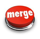 Merge Word Press Button Combine Companies Businesses Merger — Stock Photo