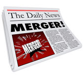 Merger Newspaper Headline Big Breaking News Story Update Company — Stock Photo