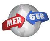 Merger Word Arrows Around World Combining Companies Business — Stock Photo