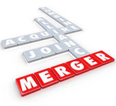 Merger Tile Words Acquire Join Alliance Combine Companies — Stock Photo