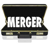 Merger Word Business Briefcase Combine Companies Offer Proposal — Stock Photo