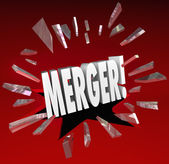 Merger Word Breaking Story Smash Through Glass Big News Update — Stock Photo