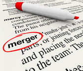 Merger Dictionary Definition Combining Companies Word — Stock Photo