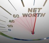 Net Worth Speedometer Rising Increasing Total Wealth Money — Stock Photo