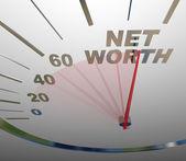 Net Worth Speedometer Rising Increasing Total Wealth Money — Stock Photo