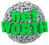 Net Worth Money Ball Sphere Total Financial Value Wealth — Stock Photo
