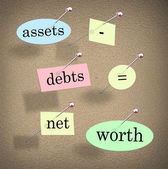 Assets Minus Debts Equals Net Worth — Stock Photo