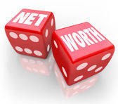 Net Worth Two Dice Total Financial Wealth Value Accounting Risk — Stock Photo
