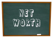 Net Worth Chalkboard Total Wealth Value Learn Financial Education — Stock Photo
