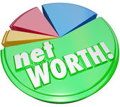 Net Worth Pie Chart Wealth Value Compare Assets Debts Graph — Stock Photo