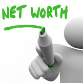 Net Worth Man Writing Words Figure Your Asset Total Value — Stock Photo