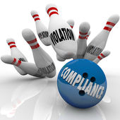 Compliance Bowling Ball Strike Violations Follow Rules to Win — Stock Photo