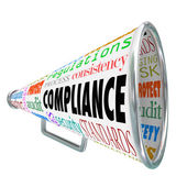 Compliance word on a bullhorn — Stock Photo