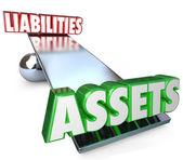 Assets Vs Liabilities Balance Scale — Stock Photo