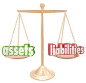 Assets Vs Liabilities Words Scale — Stock Photo