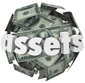 Assets Word Money Sphere Ball — Stock Photo