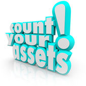 Count Your Assets Words — Stock Photo