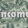 Income Word Hundred Dollar Bills Pile — Stock Photo #46007623