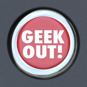 Geek Out Button Obsess — Stock Photo