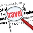 Travel Trip Planning Magnifying Glass Searching — Stock Photo #46022715