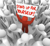 Stand Up For Yourself Man Holding Sign — Stock Photo