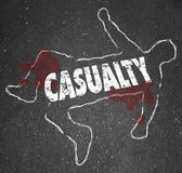 Casualty Chalk Outline Dead Body Hurt Injury Accident — Stock Photo