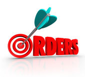 Orders 3D Word Arrow Target — Stock Photo