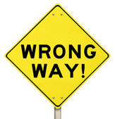 Wrong Way Yellow Warning Road Sign — Stock Photo