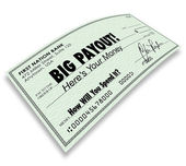 Big Payout Check Money Earnings — Stock Photo