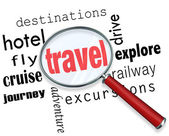 Travel Trip Planning Magnifying Glass Searching — Stock Photo