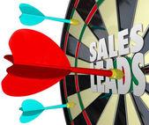 Sales Leads Dart Board — Stock Photo
