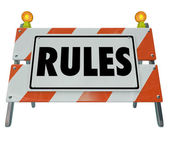 Rules Sign Barricade — Stock Photo