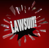 Lawsuit Word Smashing Glass — Stock Photo