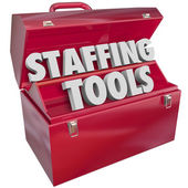 Staffing Tools Words in Red Toolbox — Stock Photo