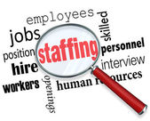 Staffing Magnifying Glass Words — Stock Photo