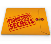 Productivity Secrets Yellow Envelope Tips — Stock Photo