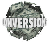 Conversions Word Money Ball — Stock Photo
