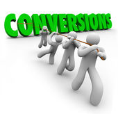 Conversions Word Team Pulling Together — Stock Photo