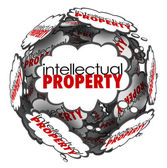 Intellectual Property Thought Clouds Creative Ideas Protected Co — Stock Photo