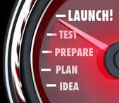 Launch Test Prepare Plan Idea Speedometer — Stock Photo