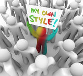 My Own Style Person Holding Sign — Stock Photo