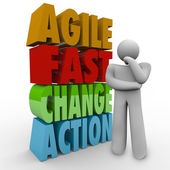Agile Fast Change Action Thinker Words Agility — Stock Photo