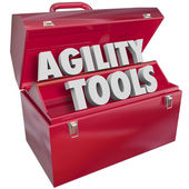Agility Tools Words in Toolbox Change Adapt Ability  — Stock Photo