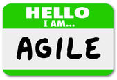 Hello I Am Agile Name Tag Agility Quick Change Adapt — Stock Photo
