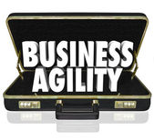 Business Agility Words Briefcase Fast Change Adaptation — Stock Photo