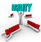 Agility Person Lifting Word Survival Fast Action — Stock Photo