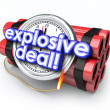 Explosive Deals words on a ticking time bomb with clock — Stock Photo